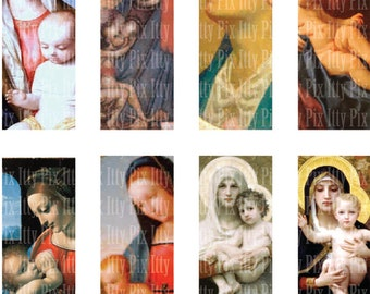 MORE Virgin Mary Collage Sheet - 1 x 3 inch rectangle digital collage - Madonna - microscope slide collage sheet