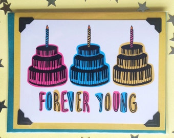 funny birthday card, birthday card for friend, forever young, music birthday card