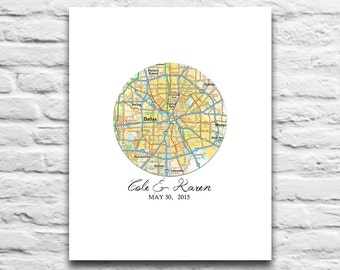 Custom Wedding Couple Circle Map art DIGITAL DOWNLOAD for you 2 Print,Wedding Engagement,Personalized,Gift for Couple,diy,8x10 11x14