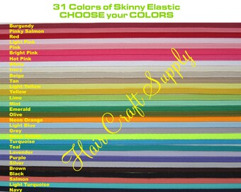 SKINNY ELASTIC - 12 Yards Skinny Elastic by the Yard - Choose from assorted Colors, baby elastic, thin elastic, one eigth, colored elastic