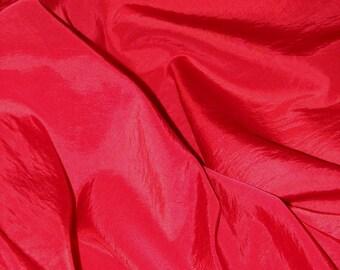 Bright red taffeta, 100% polyester, beautiful colors, width 150 cm fabric.