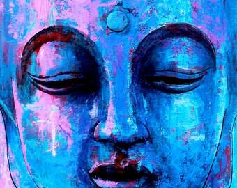 """BUDDHA BLUES   Buddha Painting   24"""" x 24"""""""