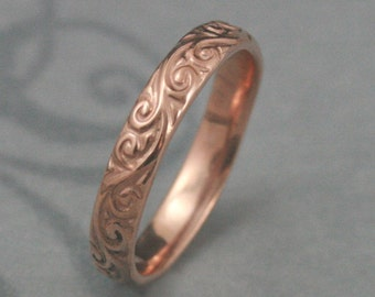 Rose Gold Wedding Band--Solid 14K Rose Gold Flourish le Femme Wedding Band--Solid Gold Swirl Patterned Wedding Ring