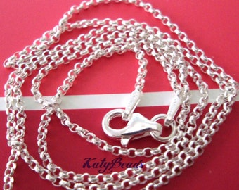 """16"""" 18"""" 20"""" 22"""" 24"""" 30"""" inches 925 Sterling Silver 1.5mm rolo Rollo Chain Necklace"""