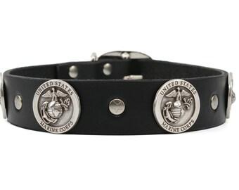 Dog Collar Leather, US MARINES, Dog Collar, Leather Collar, Leather Dog Collars, Boy Dog Collar, Collar Leather, Handmade