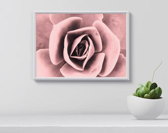 Pink flower wall art, Flower Print, Tropical Pink Poster, Art Print, Home Decor, Christmas gift, gift for her, gardener gift, Printable