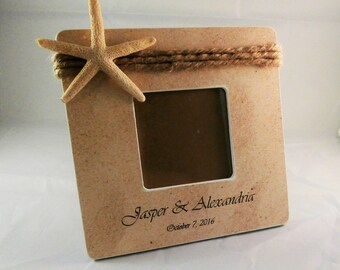 Beach wedding picture frame, bride and groom gift, beach theme bridal shower decor, custom wedding gift