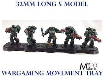 Warhammer 40000 Warhammer 40K 32mm Base 5 model Movement Tray Age of Sigmar Primaris Space Marines Death Guard Chaos Wargaming Miniatures