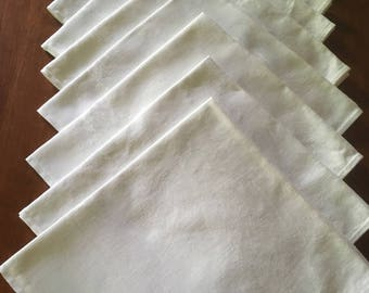 8 Vintage Large Linen Damask Dinner Napkins in White M918