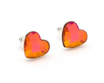 Swarovski Orange Pink Heart Earrings Heart Stud Earrings Tiny Heart Earrings Swarovski Studs Sterling Silver Post Earrings Heart Jewelry