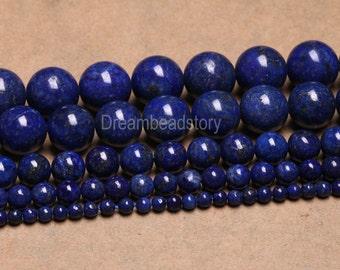 Lapis Lazuli Blue Stones Beads Healing Gemstone 6 8 10 12 14mm Loose Beads for Jewelry Making (B62)