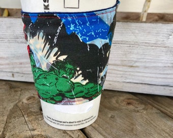 Superheroes Hulk Spiderman  GRANDE Coffee Cozy Reversible Cup Cozy To Go Sleeve Teacher Gift Frappuccino Fathers Day