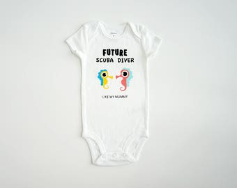 Scuba Diving Baby Onesie ~ Baby Romper ~ Bodysuit ~ Personalized Baby Onesie ~ Customized Onesie ~ Future Scuba Diver Like My Mummy