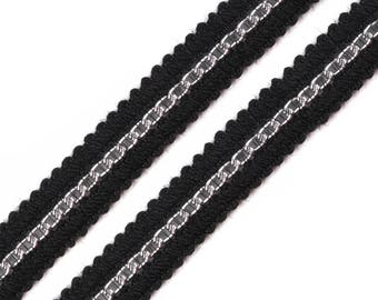 Black Lace and silver 15 mm high fashion style