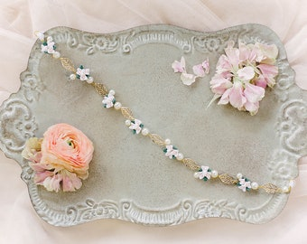Floral bridal headband Gold, Pink and Green Leaves, Flower girl