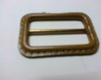 Medium brown leather rectangular buckle passage 3.8 cm * BO11 *.