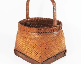 "Vintage ASIAN WOVEN GATHERING Basket w Woven Wood Handle / 14"" Tall Asian Grain - Chinese Utility Basket /Asian Decor-Housewarming"