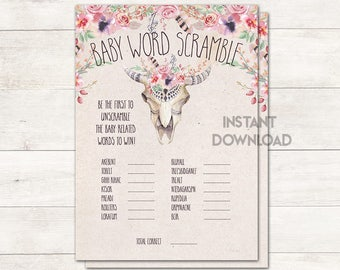 Baby Word Scramble, Baby Shower Game, Boho Tribal Baby Shower, Boho Floral, Cow Skull, Bohemian, Baby Shower Invite, Printable No. 1028