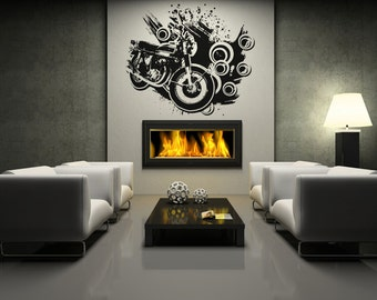 Vinyl Wall Decal Sticker 70's Inspired motorcycle OSAA146B
