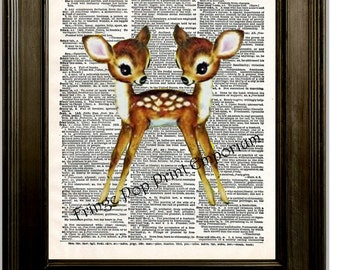 Siamese Twins Deer Art Print 8 x 10 Dictionary Page - Conjoined Twins Deer - Kawaii - Sideshow Circus - Kitsch