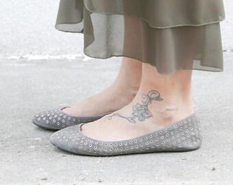 Vintage shoes grey leather & fabric size 39 IT brand ZARA OOAK