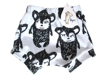 baby bloomers short white bear, BIO-cotton , choose your size