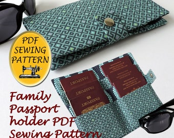 Family Passport wallet pattern. Family Passport cover PDF pattern . Instant download PDF. 6 Passport holder pattern.