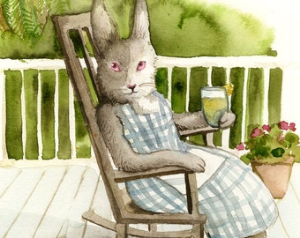"""Rabbit Painting-  """" On the Porch """" print of original watercolor painting"""