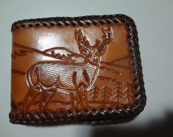Mens handmade leather  billfold/ wallet