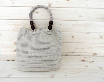 Crochet natural tote, handmade crochet purse with recycled cotton, crochet handbag in neutral cotton,READY TO SHIP
