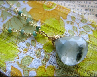 Green Cat's Eye Emerald Gold Necklace - Spiritual Birthstone Heart Chakra Gem Stone Fertility Gift Birthday Daughter Sister Wife Mother Mom