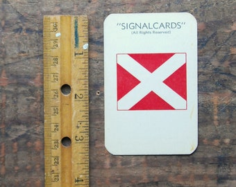 "Vintage Signal Card, WWII Era, Navy International Code Numeral Flag "" Four 4 """