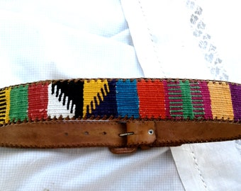 Guatemala Hippie TOOLED Leather Belt ~ Vintage Boho Chic ~  Multi Color Fabric ~ Cool ~ Retro Chic * Guatemalan