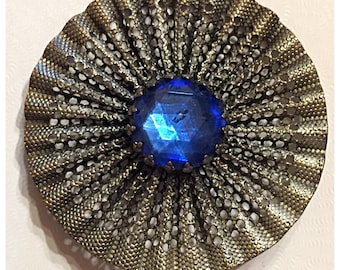 Intricate Open Work Accordion Fan Style Silver Button with Blue Glass Faceted Stone, Collectible Antique Button in Silver & Blue, item 450