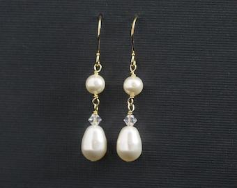 Crystal Pearl Drop Earrings Wedding Bridal Jewelry Dangle Bridesmaids Earrings Wedding Colors Ivory Cream Gold -- CORRINE II
