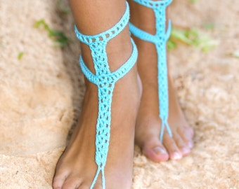 Turquoise Blue Barefoot Sandals with buttons, Crochet Barefoots, Turquoise Foot jewelry, Beach Wedding, Something Blue, Wedding accessory