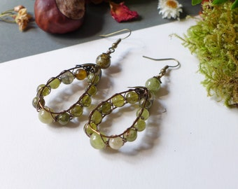Green garnet rings and wire wrapping