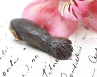 Antique Santos Arm and Hand, Hand Carved Fragment, Religious Folk Art