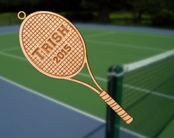 Personalized Wooden Tennis Racquet Christmas Ornament