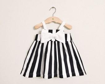 Organic Cotton Black & White Striped Baby Girl Big Bow Sundress - Vertical Stripes Easter Dress