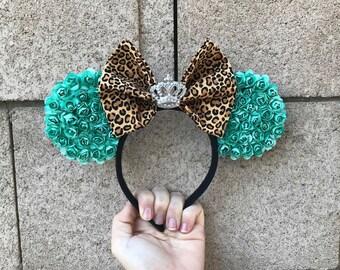 Blue Leopard Print Minnie Ears
