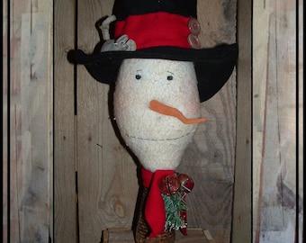 SALE Primitive folk art snowman make do beehive bobbin black wool fedora handmade cloth mouse HAFAIR OFG faap Lucys Lazy Dayz