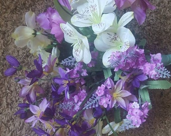 Handmade Durable Purple and White Assorted Boquet