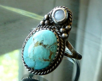Turquoise n Opal Southwestern Bug Ring in sterling silver Native American Indian style size 8.5 beetle OOAK jewelry