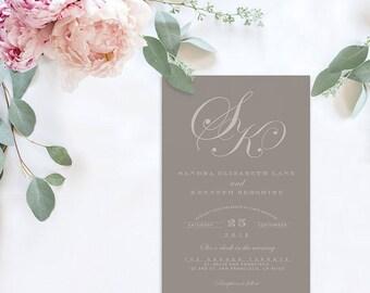 Monogram Wedding Invitations / Grey Wedding Invitations
