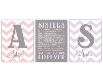 personalized twin baby girl gifts | purple and pink twin girls nursery decor | sisters wall art | chevron nursery decor | twin girl wall art