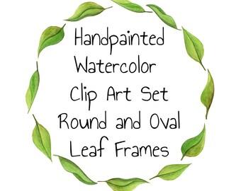 Digital Frames Watercolor Clip Art Frames Digital Clipart Wreath Eucalyptus Leaves clipart Oval frames Round for wedding clipart DIY wedding