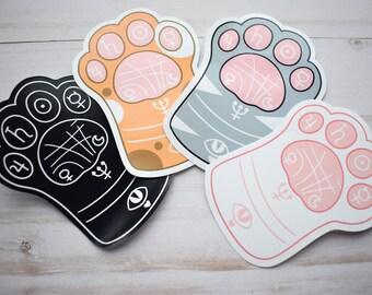Kawaii Cat Paw Reading Sticker