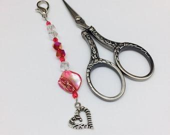 Beaded Scissor Fob, Scissor Minder, Scissor Keeper, Scissor Bling, Pink Coral Color, Clear, Shell Bead