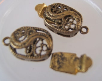 2 - Antiqued Brass Curvy Filigree Oval Box Clasps